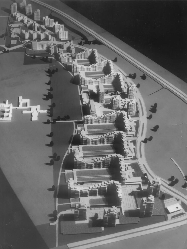 """Gesamtplanung des """"Demonstrativbauvorhabens Tenever"""" vom Städtebauinstitut Nürnberg 1971. Quelle: Bildarchiv des Bremer Zentrums für Baukultur – b.zb"""