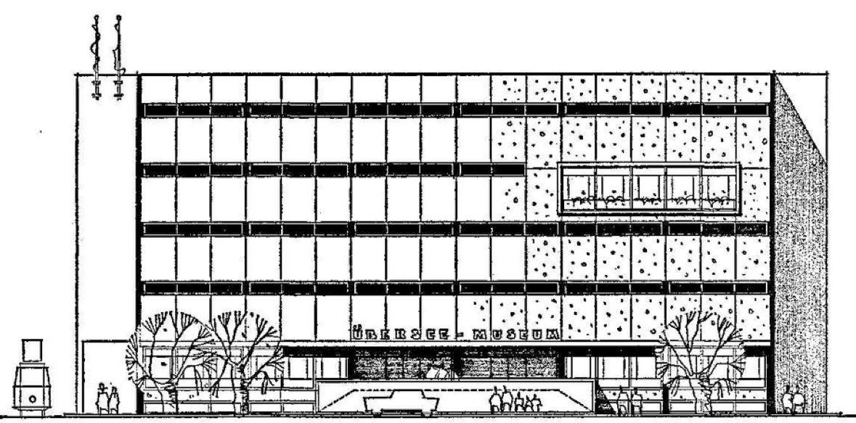 So hätte sie aussehen sollen, die neue Fassade des Übersee-Museums. Doch aus den 1968 präsentierten Planspielen wurde nichts, die historische Fassade bleibe erhalten. Quelle: Archiv des Weser-Kuriers