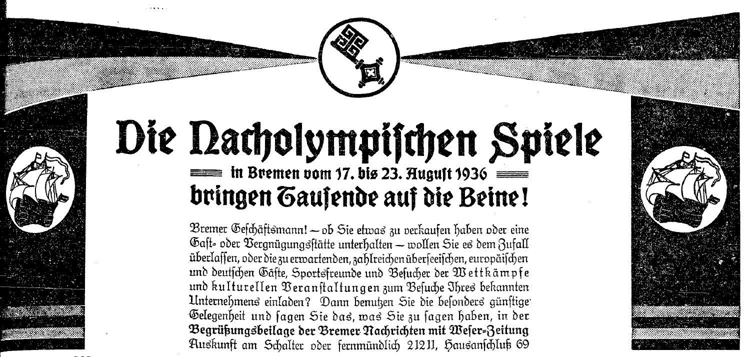 Die Bremer Nachrichten auf Kundenfang: Inserat für die Broschüre zum Start der Nacholympiade. Quelle: Staats- und Universitätsbibliothek