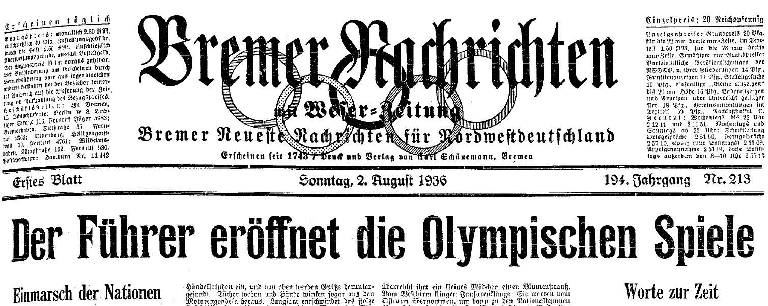 Der Startschuss: Am 1. August 1936 wurden die Olympischen Spiele in Berlin eröffnet. Quelle: Staats- und Universitätsbibliothek Bremen