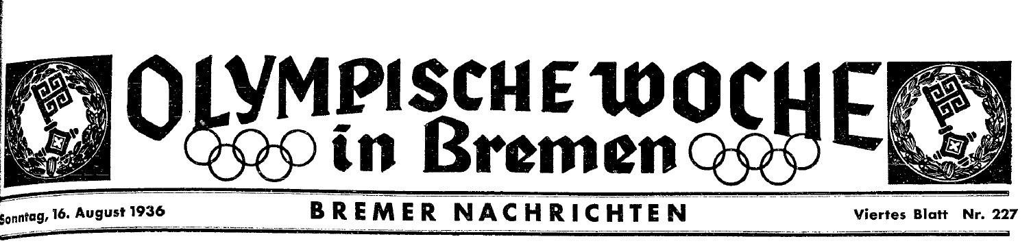Ein Zeichen für die Leser: Olympia-Balken auf den Sportseiten der Bremer Nachrichten. Quelle: Staats- und Universitätsbibliothek Bremen