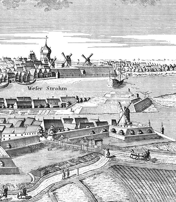 Ursprünglich hochmodern: die Bremer Befestigungsanlagen, hier auf einem Stich aus dem Jahr 1729. Quelle: Wikicommons