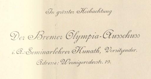 In grösster Hochachtung: Grußformel aus einem Schreiben des Bremer Olympia-Ausschusses von 1914. Quelle: Staatsarchiv Bremen