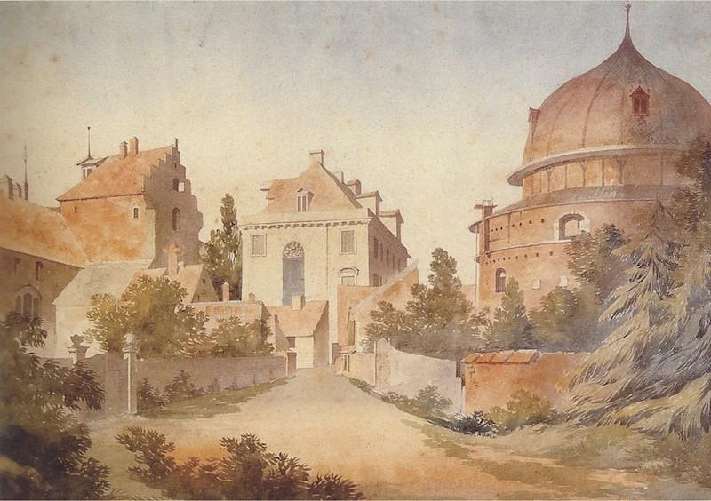 Fast ländlich: die Ecke Ostertorstraße/Am Wall im Jahre 1817. Quelle: Hans Hermann Meyer, Die Bremer Altstadt, Bremen: Edition Temmen 2003