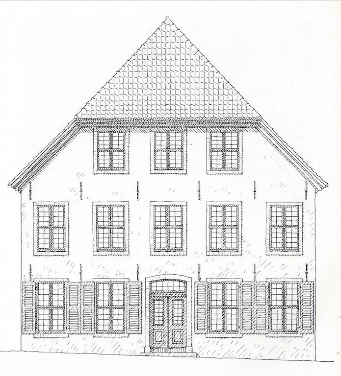 Hübsch anzusehen: das Predigerhaus mit geöffneten Fensterläden. Quelle: Rudolf Stein, Klassizismus und Romantik in der Baukunst Bremens, Bremen 1964