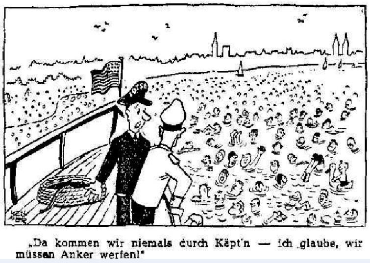 Kein Durchkommen: Stromschwimmer in der Weser als Hindernis für den Schiffsverkehr. Quelle: Weser-Kurier vom 07.06.1950.