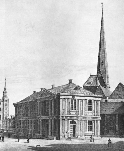 Die Neue Börse ersetzte die Alte Börse auf dem Liebfrauenkirchhof. Das Gebäude brannte 1888 ab. Im Hintergrund zu sehen: die Türme der St. Ansgarii-Kirche (links) und Liebfrauen-Kirche (rechts). Quelle: Wikicommons