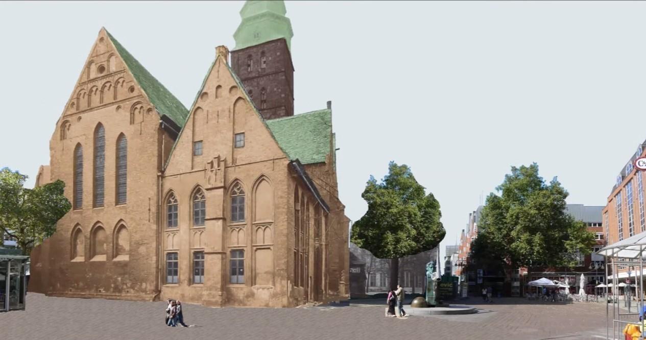 Kirchenschiff statt Bremer Carrée: Wie die Rückansicht der Kirche aussehen würde. Bildvorlage: Nils Huschke