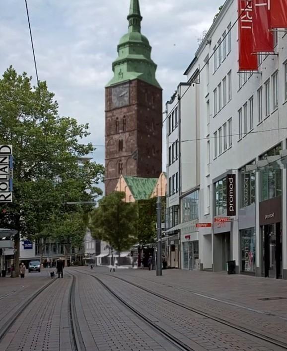 Verlockende Perspektive: Blick durch die Obernstraße auf eine rekonstruierte Ansgarii-Kirche. Bildvorlage: Nils Huschke