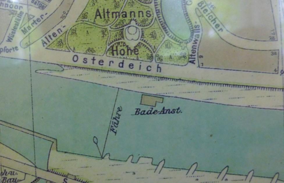 Zentrumsnaher Badespaß: Stadtplan mit der Badeanstalt am Altenwall. Quelle: Staatsarchiv Bremen