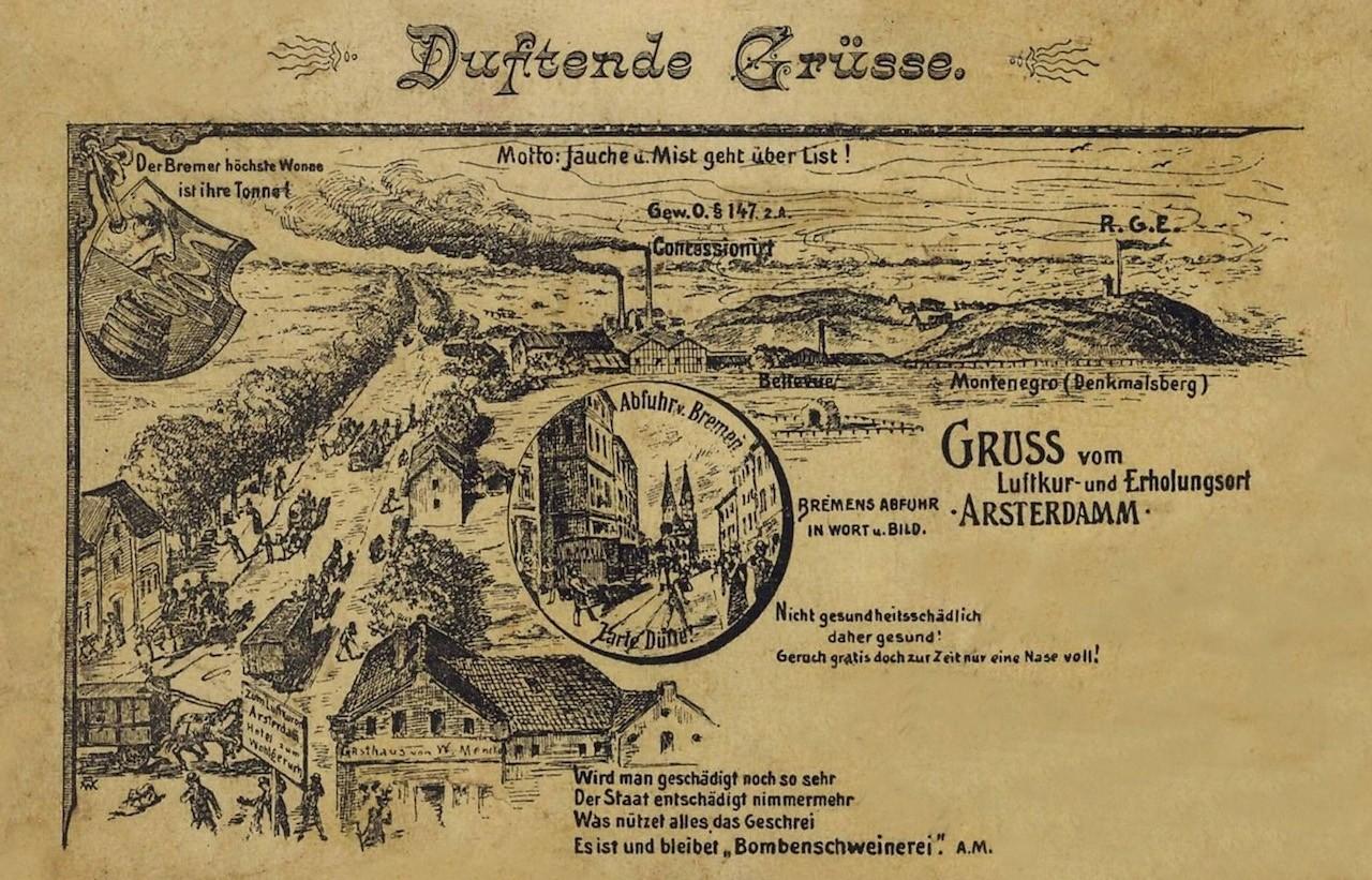 Es stank zum Himmel: duftende Grüße vom Luftkur- und Erholungsort Arsterdamm, Protest-Postkarte aus dringendem Anlass. Quelle: Protest-Postkarte 1890er