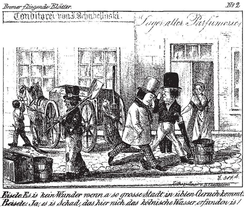 Nicht gerade ein Aushängeschild: Die Bremer fliegenden Blätter nahmen um 1850 die Zustände der Fäkalienentsorgung aufs Korn.