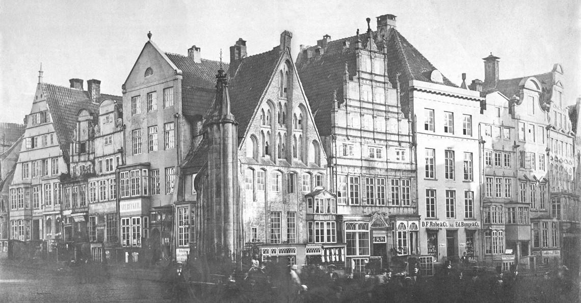 Was einmal war, sollte wieder werden: Für den Bau der Neuen Börse mussten zwischen 1860 und 1863 insgesamt 18 alte Gebäude weichen. Einen solchen Zustand wollten die Gegner des Bürgerschaftsgebäudes wiederherstellen. Quelle: Wikicommons