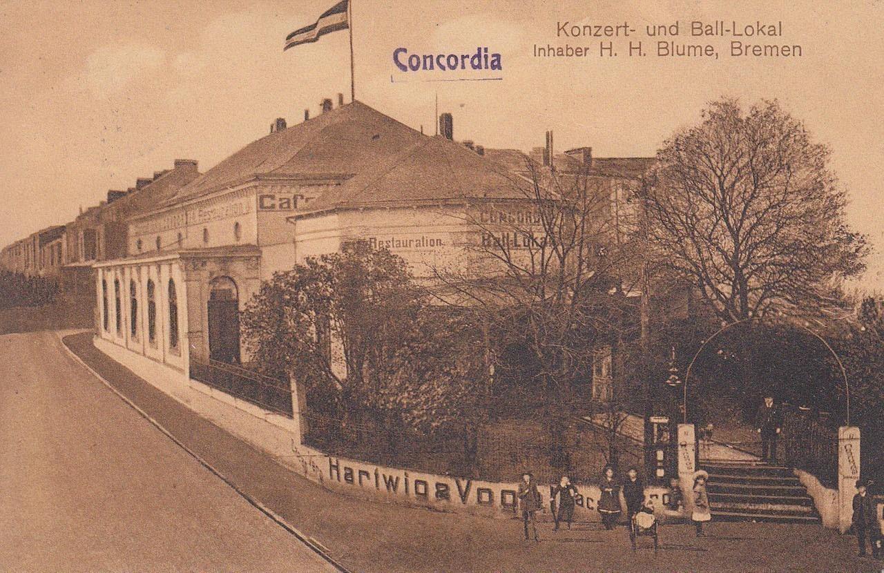 Eine gesuchte Örtlichkeit: das Concordia-Lokal auf einer Ansichtskarte von 1911. Bildvorlage: Peter Strotmann