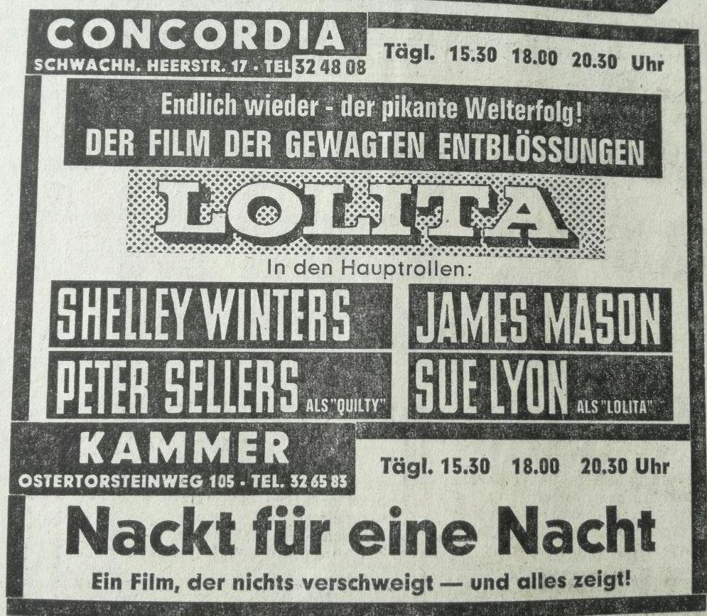 Mit erotischen Filmen zum Erfolg: Kinowerbung für die beiden Draber-Filmtheater im August 1968. Quelle: Weser-Kurier