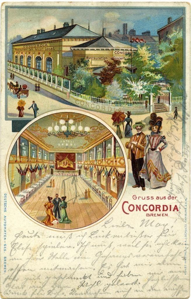 Ziemlich einladend: eine um 1900 erstellte Ansichtskarte des Concordia-Wirts zur Eigenwerbung. Quelle: Staatsarchiv Bremen