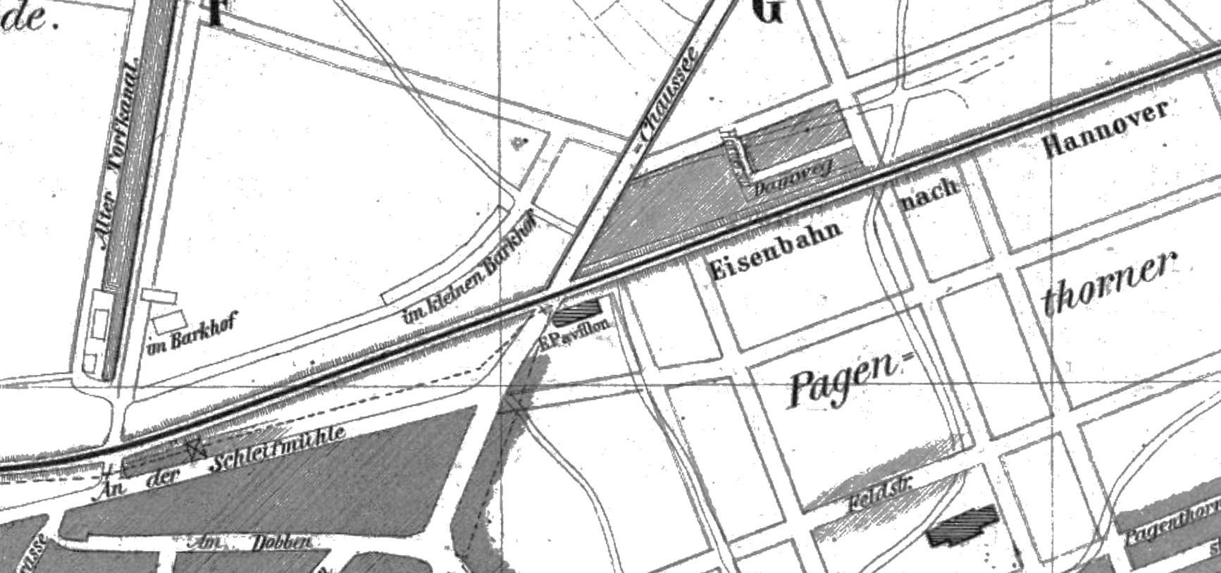 Abgeschiedene Lage: das Eisenbahn-Pavillon auf einem Stadtplan von 1865. Quelle: Wikicommons