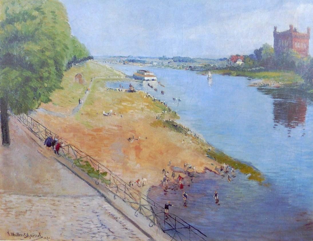 Badefreuden am Osterdeich: Der Maler Ernst Müller-Scheeßel ließ sich 1921 zu diesem Gemälde inspirieren. Quelle: Die Weser 1800-2000, Bernd Küster, Donat Verlag, Bremen 1999