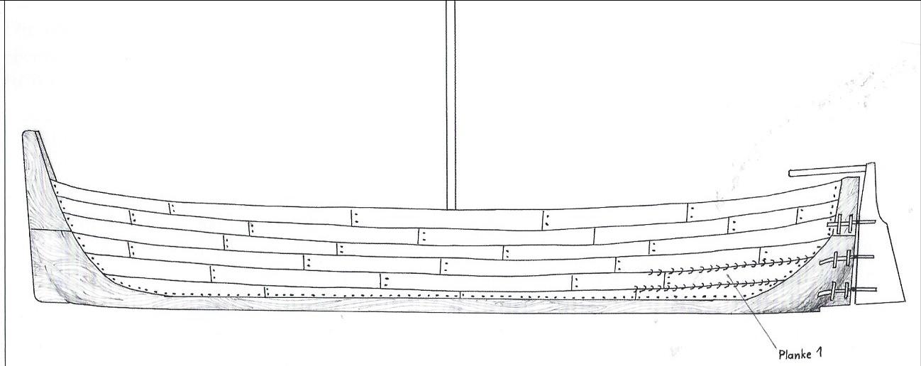 So könnte die Ur-Kogge ausgesehen haben: Rekonstruktionszeichnung des Schlachte-Schiffs. Quelle: Manfred Rech, Das Bremer Schlachte-Schiff, Oceanum Verlag: Bremerhaven 2016