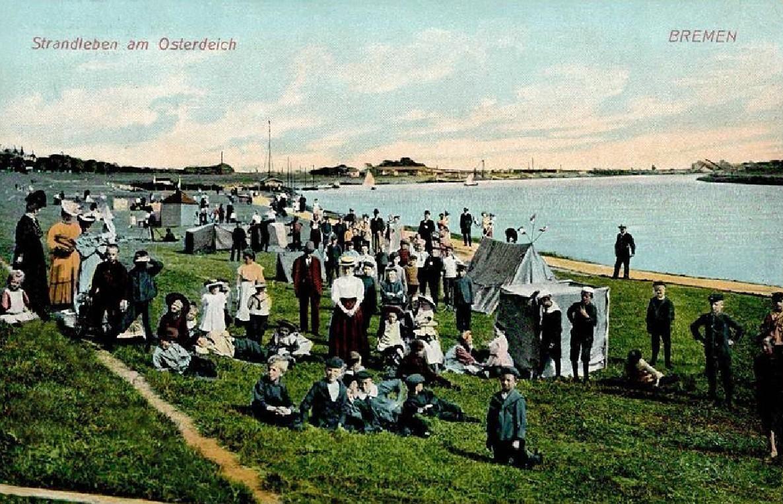 Zelte am Osterdeich: Im Sommer 1910 tummelten sich zahlreiche Bremer am Weserufer. Bildvorlage: Peter Strotmann