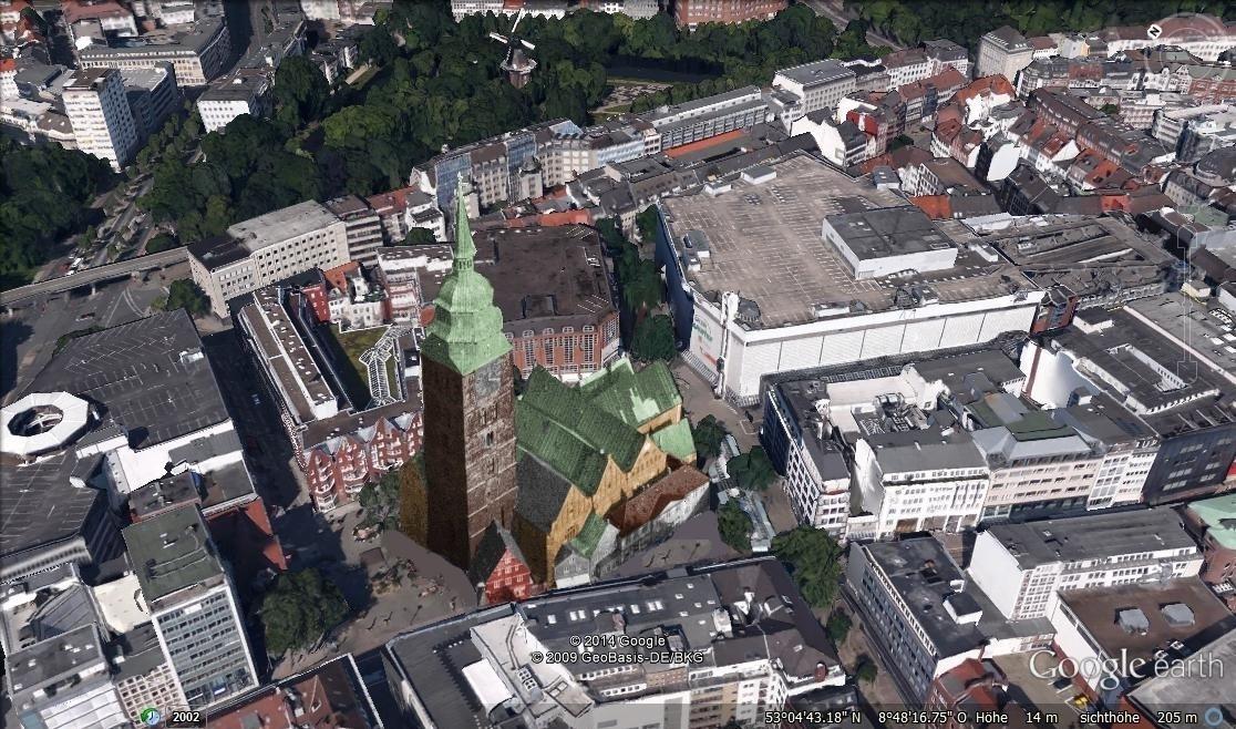 Die Idealvorstellung: So würde sich die wiederaufgebaute St. Ansgarii-Kirche ins heutige Stadtbild einfügen. Bildvorlage: Nils Huschke