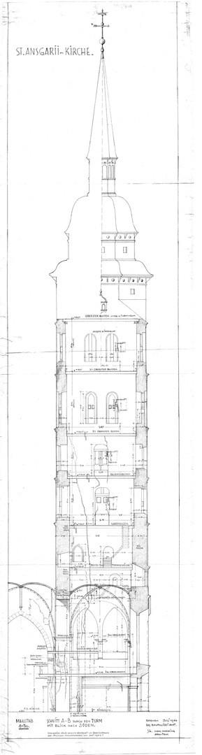 Über die Gefahrenlage waren sich die Behörden schon vor dem Einsturz des Ansgarii-Kirchturms im Klaren: Diese im Juli 1944 angefertigte Architektenskizze zeigte en detail die Risse im Gemäuer auf. Bildvorlage: Landesamt für Denkmalpflege Bremen