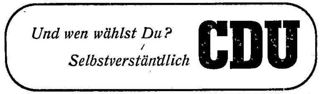Gut gereimt ist halb gewonnen: Wahlwerbung der CDU im Weser-Kurier. Quelle: Archiv des Weser-Kuriers