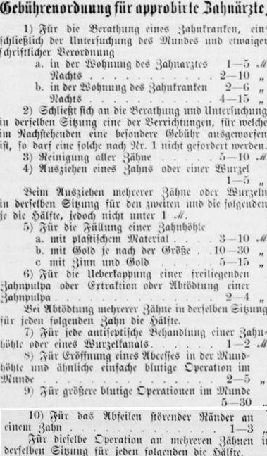 Klartext: die Gebührenordnung der zugelassenen Zahnärzte sieht fast aus wie eine Patientenquittung. Quelle: Bremer Adressbuch von 1899