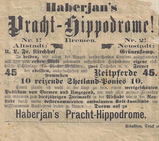 """Haberjan schlug mächtig auf die Pauke: Werbung für die """"Pracht-Hippodrome"""" auf dem Bremer Freimarkt. Quelle: Familie Porsch"""