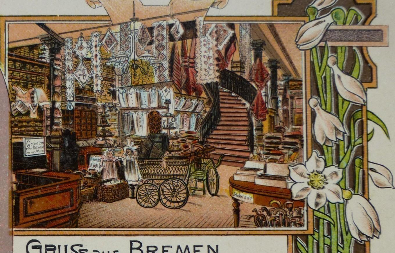 Viel Liebe fürs Detail: Innenansicht des Kaufhauses Max Baron auf der Werbe-Postkarte von 1897. Quelle: Peter Strotmann