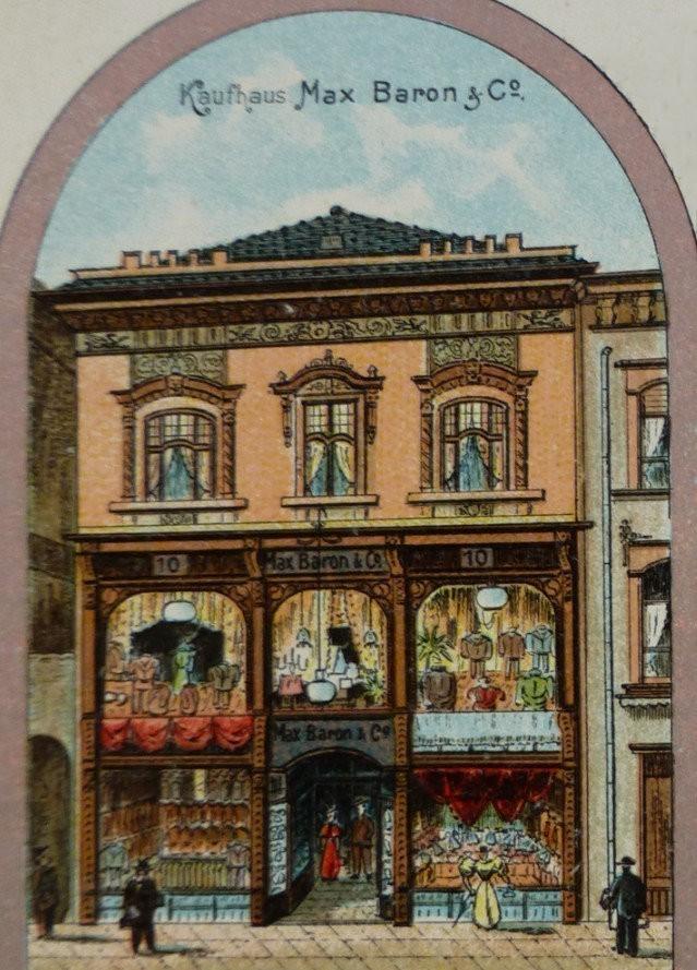 Eine gute Adresse: das Kaufhaus Max Baron an der Obernstraße, Ausschnitt der Werbe-Postkarte von 1897. Quelle: Peter Strotmann