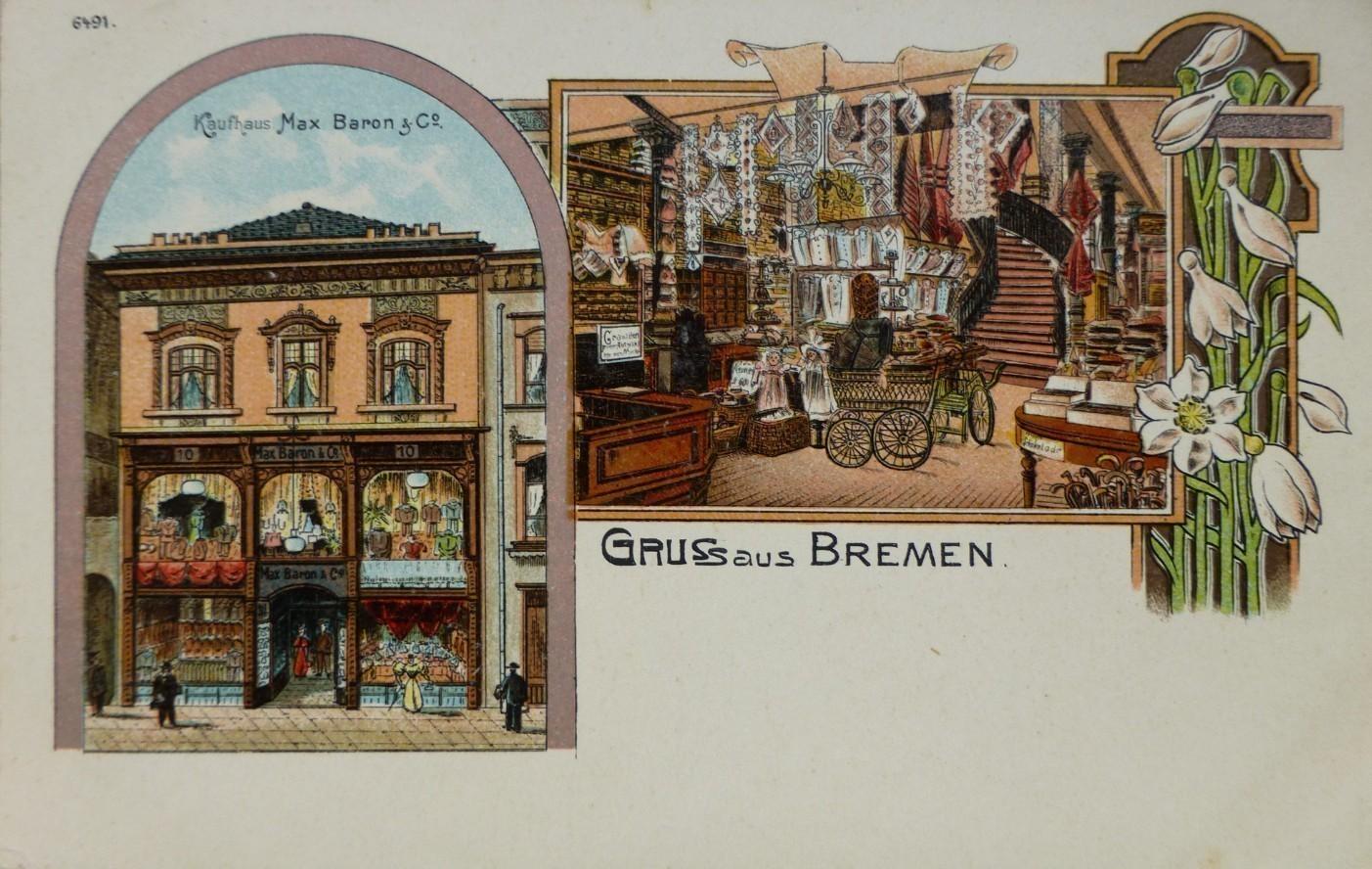 Eine Ansichtskarte, die tief blicken lässt: das Kaufhaus Max Baron an der Obernstraße 10. Quelle: Peter Strotmann