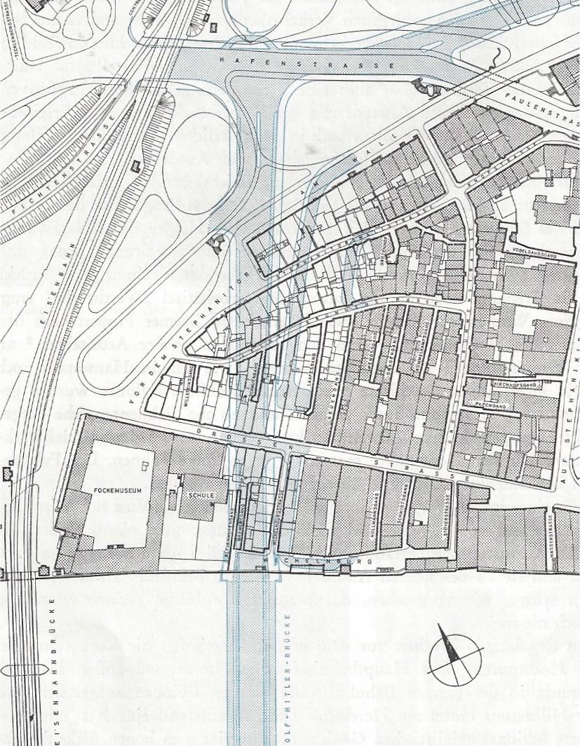 Platz für die neue Zufahrt: Plan vom bereinigten Stephaniviertel. Quelle: Harry Schwarzwälder, Die Weserbrücken in Bremen; Bremen 1968