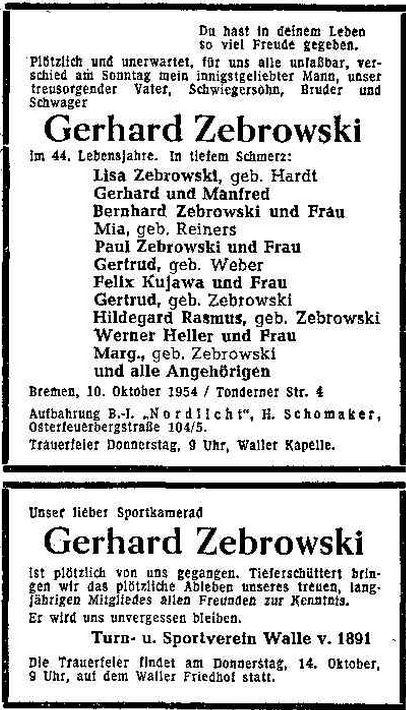 Tod auf dem Fußballplatz: Zebrowskis gleichnamiger Vater starb mit nur 43 Jahren bei einem Spiel des TuS Walle. Quelle: Archiv des Weser-Kuriers