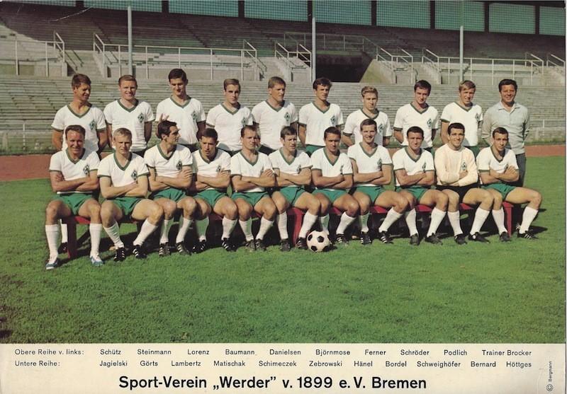 Nach Fehlstart am Ende auf dem 2. Platz: der Werder-Kader der Saison 1967/68. Quelle: Bergmann Verlag/Bestand Zebrowski