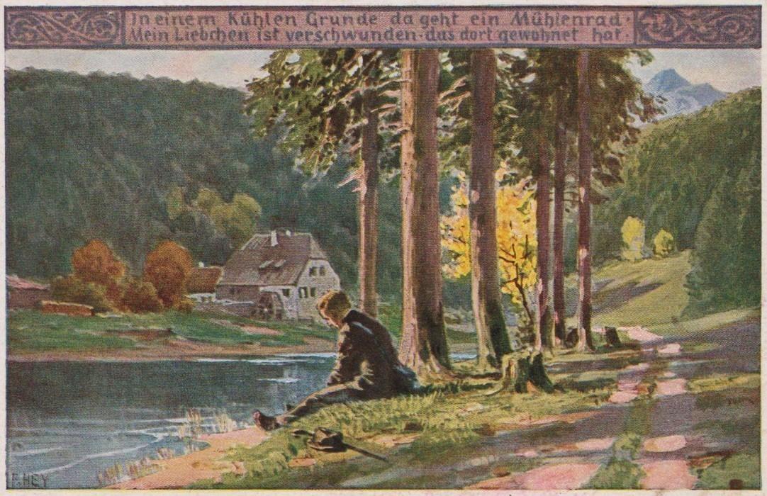 Liebeskummer nach unterkühltem Empfang: das Eichendorff-Gedicht als Postkartenmotiv. Quelle: Peter Strotmann