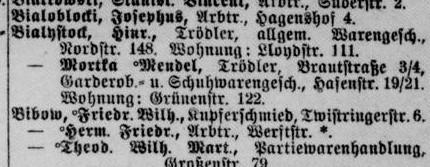 Einträchtig: Vater und Sohn waren in der gleichen Branche tätig. Quelle: Adressbuch Bremen 1918