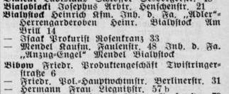 Häufiger Wechsel: Die Geschäfte der Familie Bialystock liefen gut, aber öfter mal woanders. Quelle: Adressbuch Bremen 1930