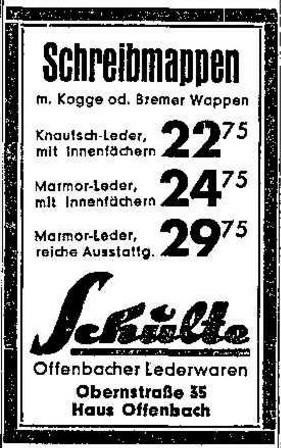 Offenbach als Qualitätssiegel: zeitgenössische Werbung des Lederwarengeschäfts Schulte. Bildvorlage: Archiv des Weser-Kuriers