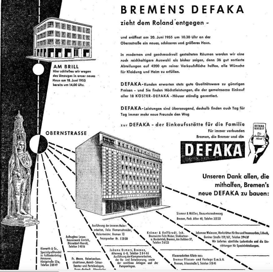 Vom Brill in die Obernstraße: Ganzeitige Defaka-Anzeige von 1955. Bildvorlage: Archiv des Weser-Kuriers