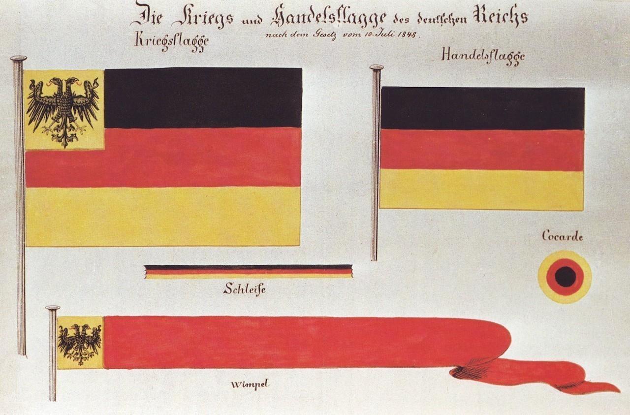 Allgemein als deutsche Farben anerkannt: Schwarz-Rot-Gold als Kriegs- und Handelsflagge nach der Revolution von 1848. Bildvorlage: Wikicommons
