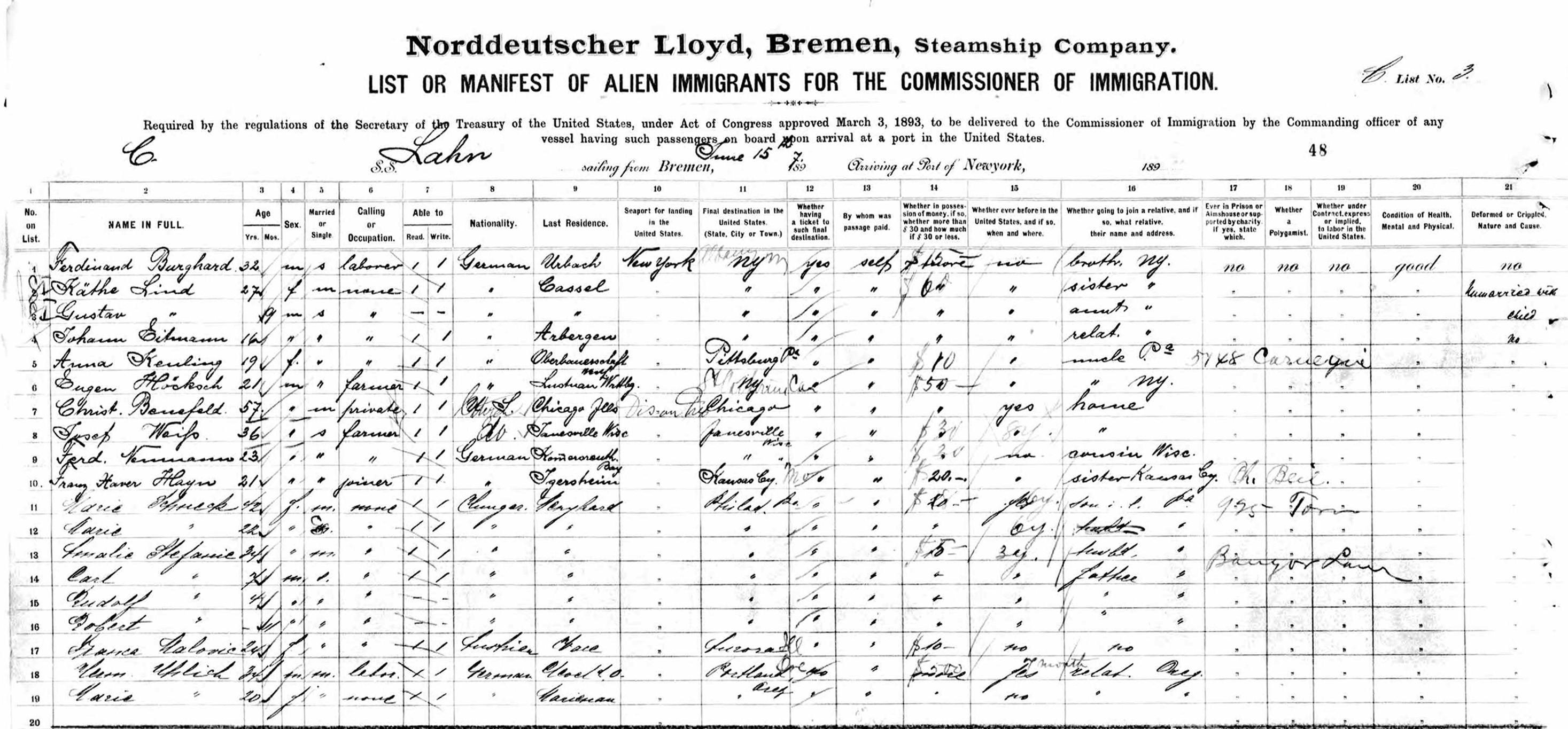 """Auf nach Amerika: Passagierliste der """"Lahn""""-Passagiere von 1897 mit Johann Eitmann an vierter Stelle. Bildvorlage: Diethelm Knauf"""