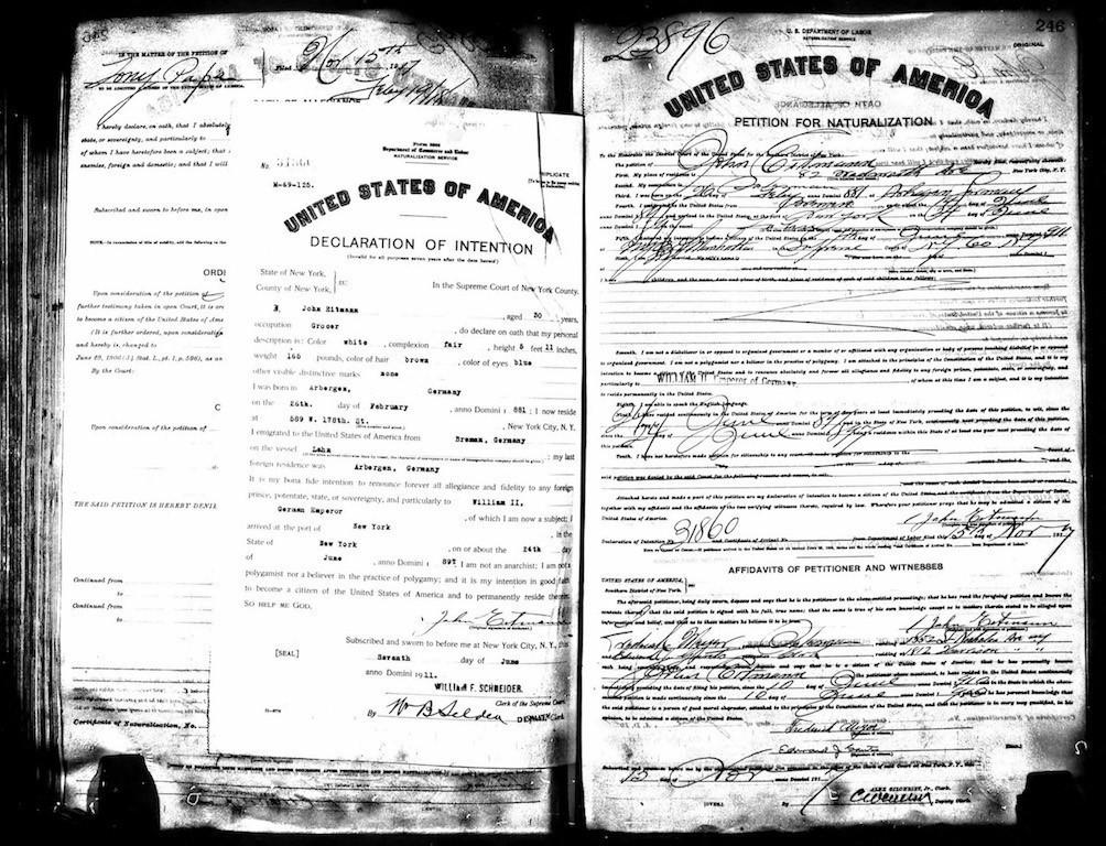 Nichts am Hut mit dem Kaiser: In der Declaration of Intention von 1911 muss John Eitmann einiges klarstellen. Bildvorlage: Diethelm Knauf