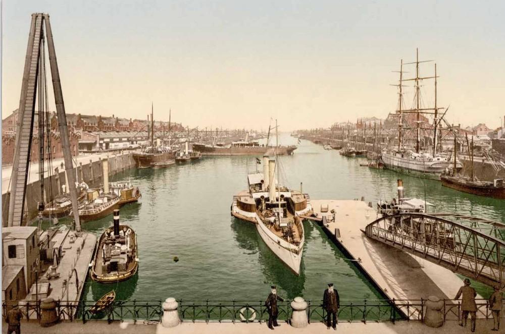 In den schönsten Farben: der noch junge Europahafen um 1900. Bildvorlage: Peter Strotmann