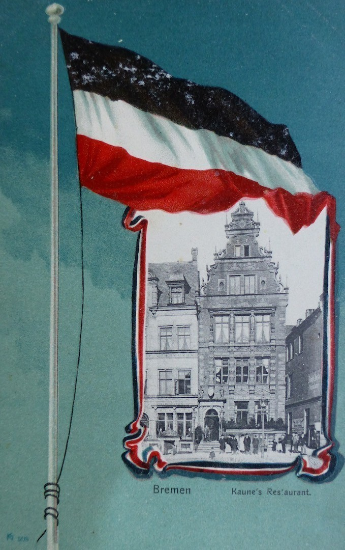 Erst spät populär geworden: Schwarz-Weiß-Rot auf einer Werbepostkarte für Kaunes Restaurant am Markt. Bildvorlage: Peter Strotmann