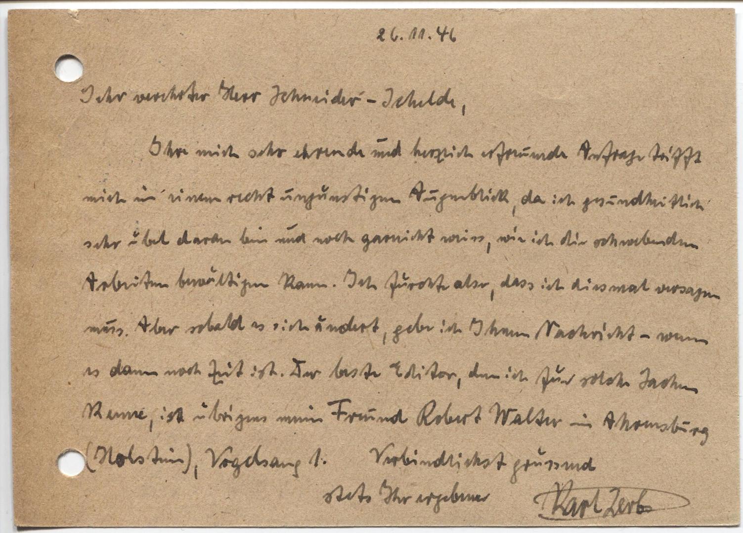 Das letzte Schreiben: Am Tage vor seinem Tod meldete sich Karl Lerbs bei Rudolf Schneider-Schelden. Quelle: Literaturarchiv der Monacensia, München