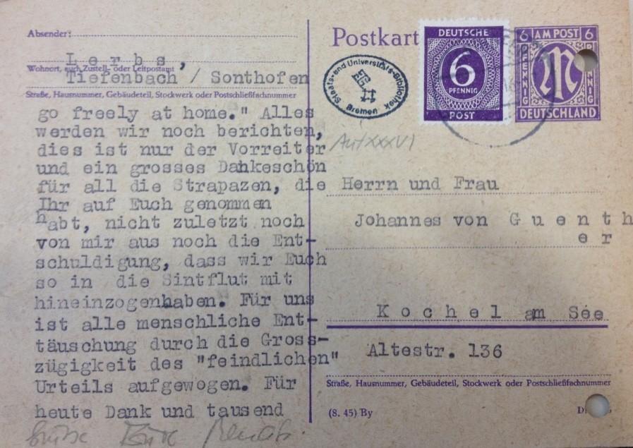Frohe Botschaft: Per Postkarte teilte Lerbs seinem Freund Johannes von Günther den milden Urteilsspruch mit. Quelle: Staats- und Universitätsbibliothek Bremen