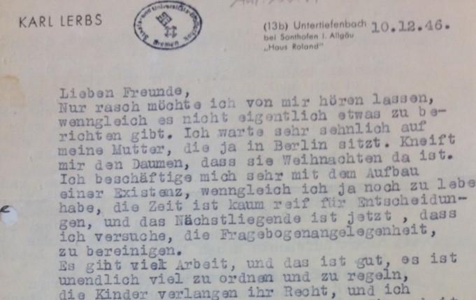 Mit dem Briefkopf ihres Mannes: Schreiben der Witwe Renate Lerbs-Lienau an das Ehepaar Günther vom 10. Dezember 1946. Quelle: Staats- und Universitätsbibliothek Bremen