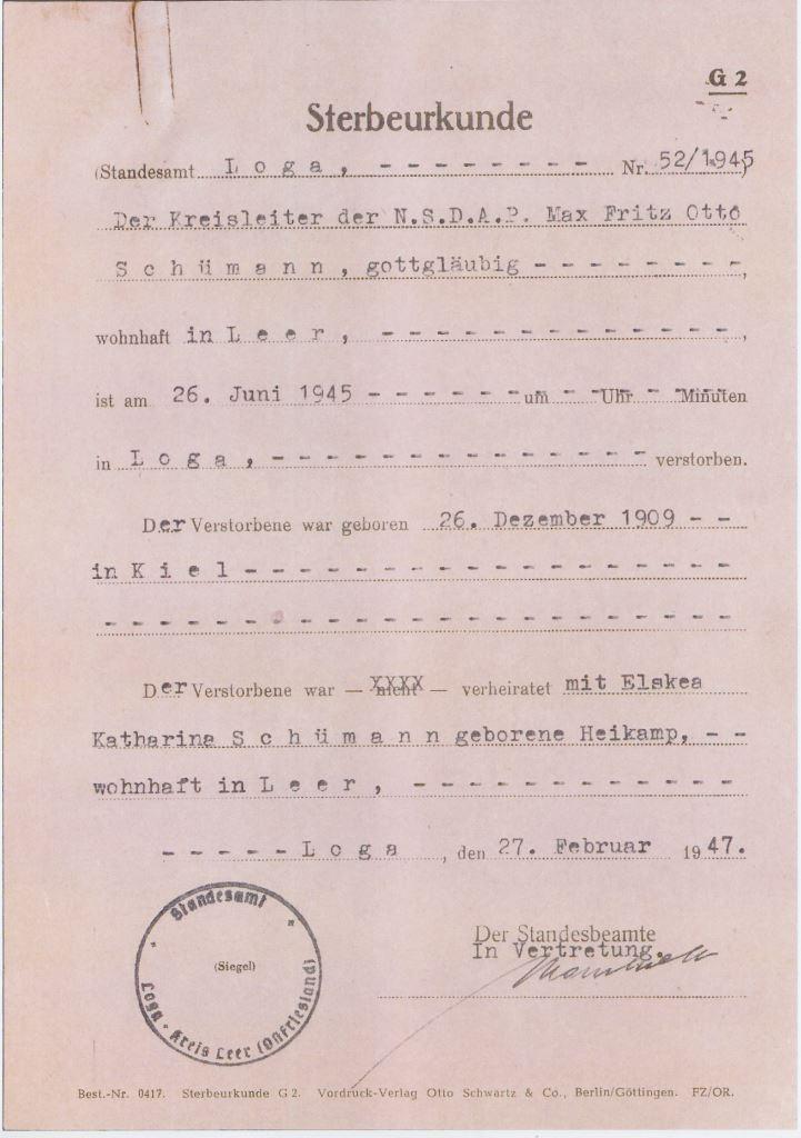 Das Ende in Loga: die Sterbeurkunde des ehemaligen Kreisleiters. Quelle: Staatsarchiv Bremen