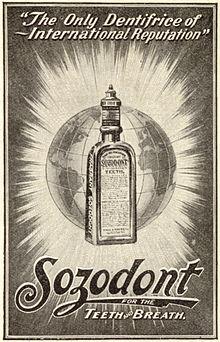 Ein Klassiker von ehedem: das Mundwasser Sozodont. Quelle: Wikicommons